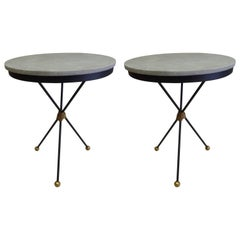 Pair Large French Modern Neoclassical Gilt Iron Side Tables, Style of Poillerat