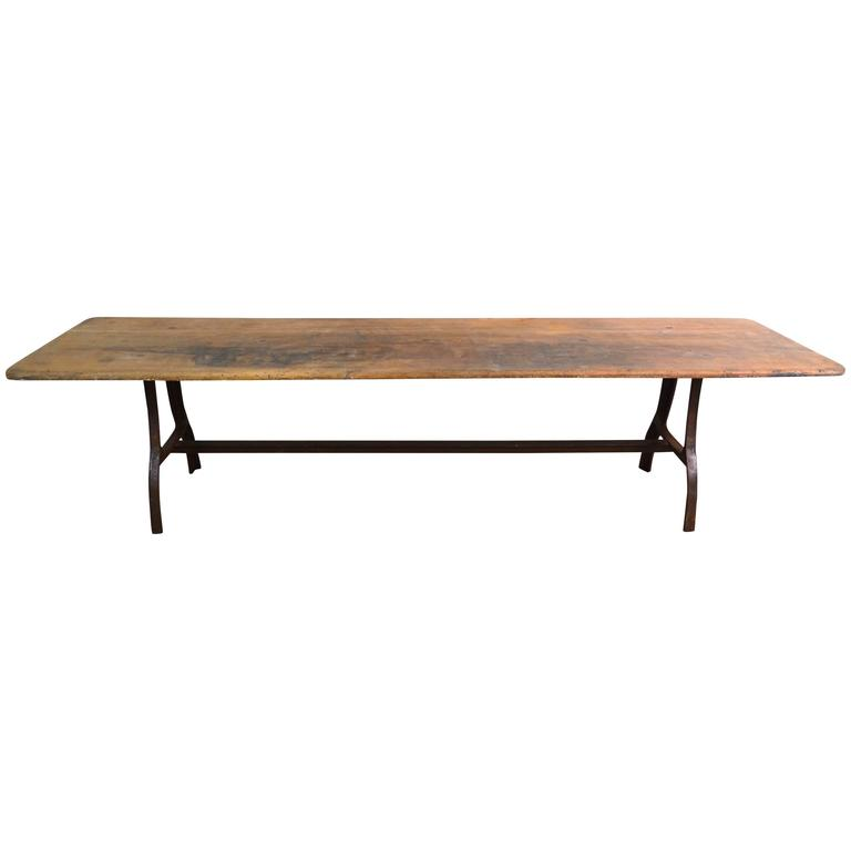Industrial table walnut wood top iron legs at 1stdibs for Wood table iron legs