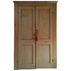 Antique Linen Press Solid Pine Cupboard 19th Century Victorian Large