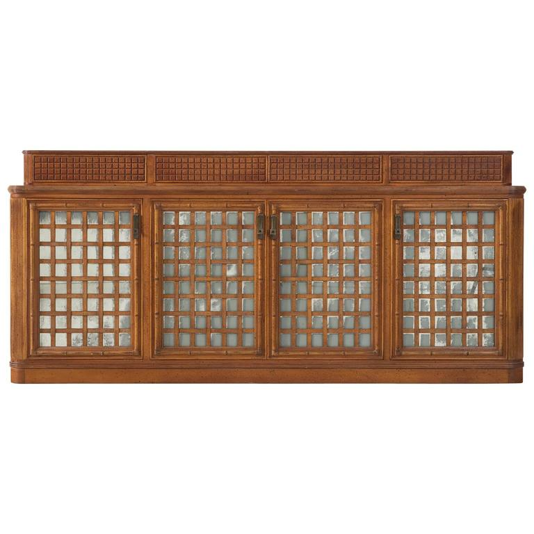 Italian sideboard in walnut with glass doors for giorgetti for Sideboard glasfront