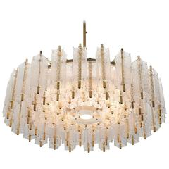 Large Chandelier in Brass with Numerous Glass Shades