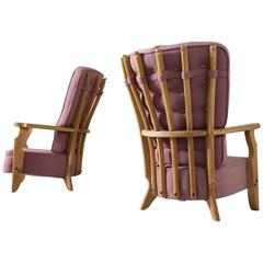 Guillerme et Chambron Pair of High Back Lounge Chairs