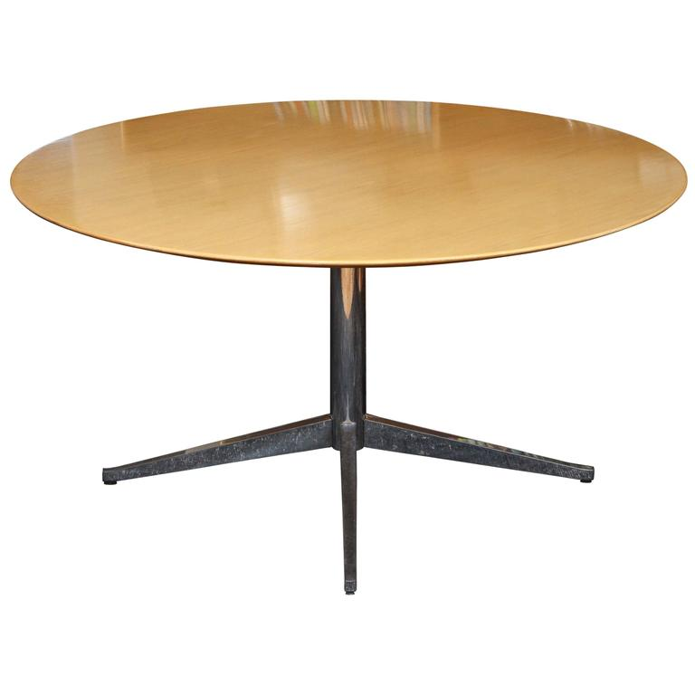 White Oak On Chrome Base Knoll Dining Table For Sale At 1stdibs