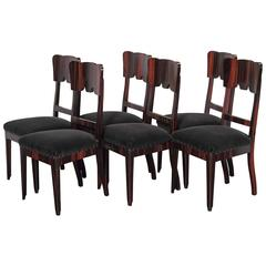 Set of Six French Art Deco Rosewood Veneered Side Chairs