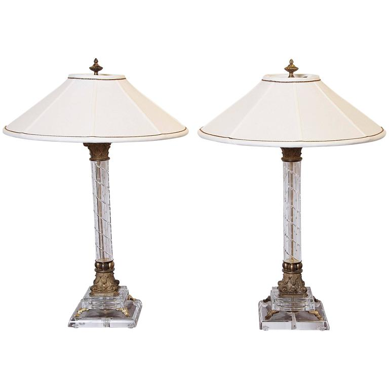 Pair of Crystal Column Lamps