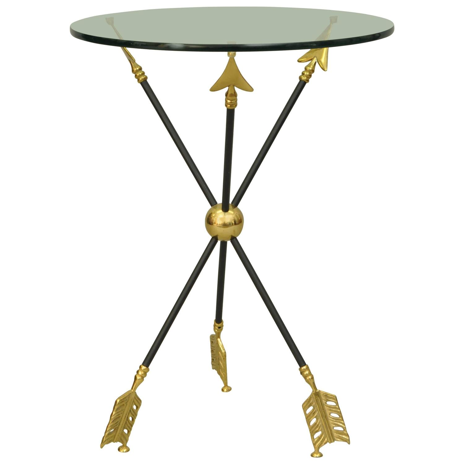 Neoclassical Style Black And Brass Arrow Base Accent Side Table At - Black and brass side table