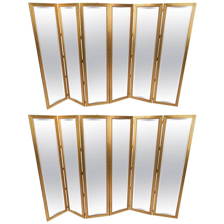 Pair of Mid-Century Modern Mirrored Three Panel Room Dividers