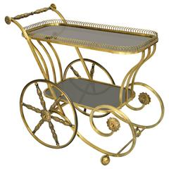 Italian Hollywood Regency Scrolling Brass and Glass Rolling Serving Bar Tea Cart