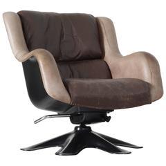 Yrjo Kukkapuro 'Karuselli' Lounge Chair in Brown Leather Upholstery