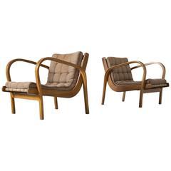 Pair of Beech Bentwood Armchairs