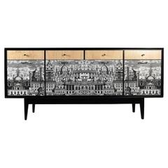 Spectacular Revamped 1950s Sideboard in the Taste of Fornasetti, Customized Late
