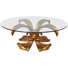 Hollywood Regency Gold Cast Aluminum Lotus Lily Pedestal Round Coffee Table