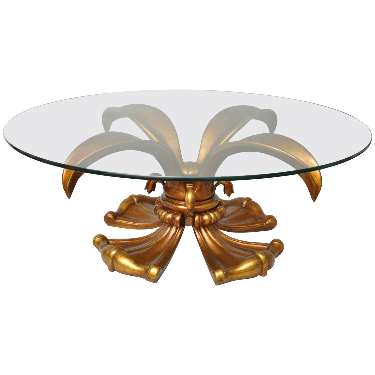 Vintage Hollywood Regency Gold Lotus Lily Round Coffee Table For