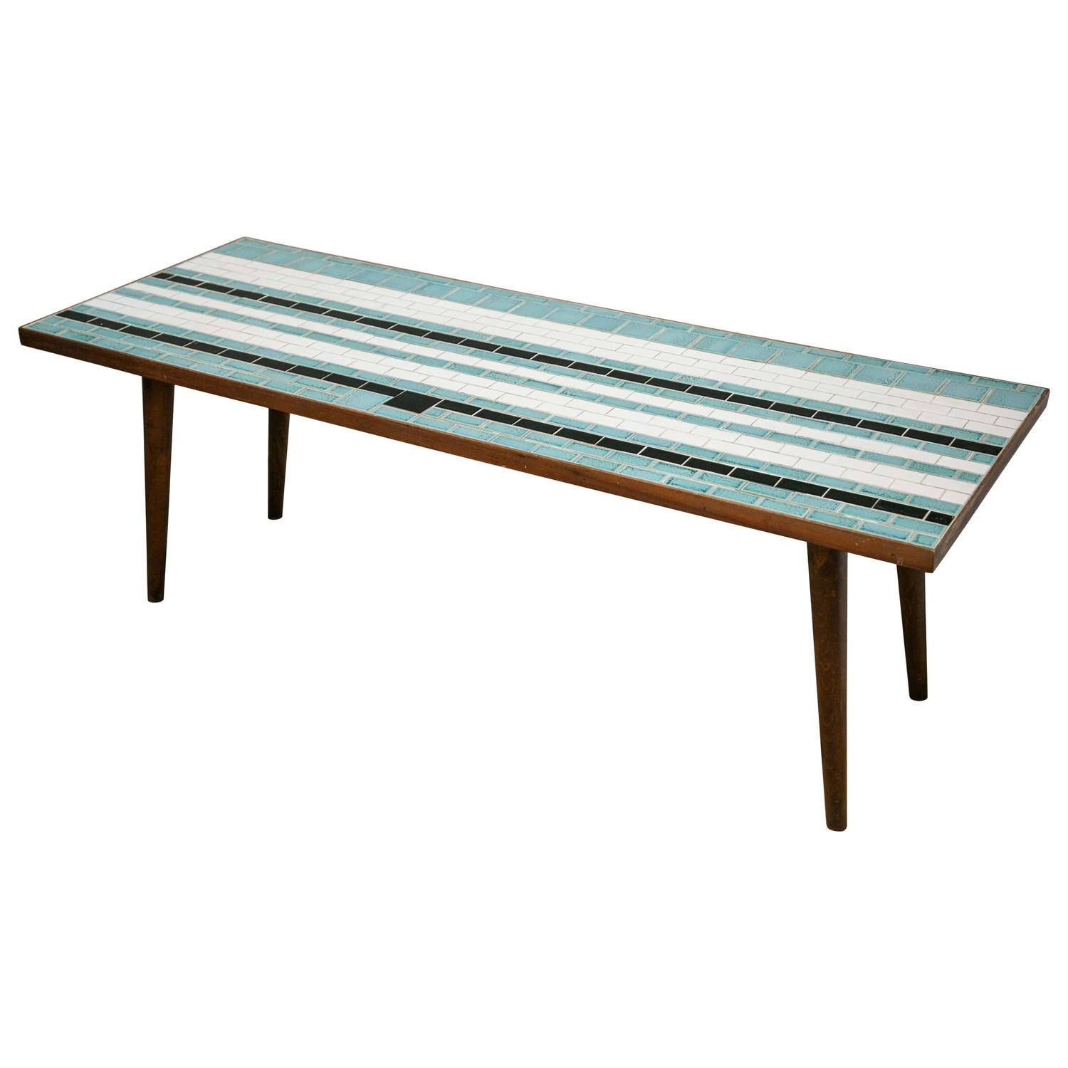 Eames Style Fantastic Blue White And Black Mosaic Tile Mid Century Modern Table At 1stdibs