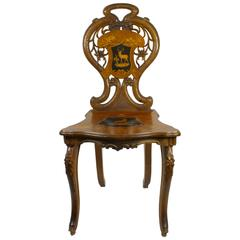 Brienz Walnut Chair with Inlaid Seat and Back, circa 1900