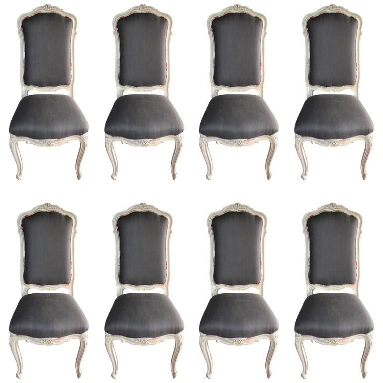 Set of Eight Louis XV Style Painted Dining Chairs