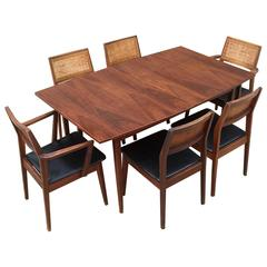 Late 1950s Classic American Modernist Solid Walnut Hibriten Dining Set