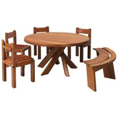 Pierre Chapo Dining Room Set in Solid Elm