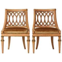Pair of Diminutive Italian Carved Wood Slipper Chairs