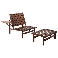 Ilmari Tapiovaara Rare Leather Strap Lounge Chair and Ottoman