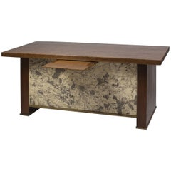 1940s Desk in Oak and Brass with an Ancient Map of Paris and Suburb in Front