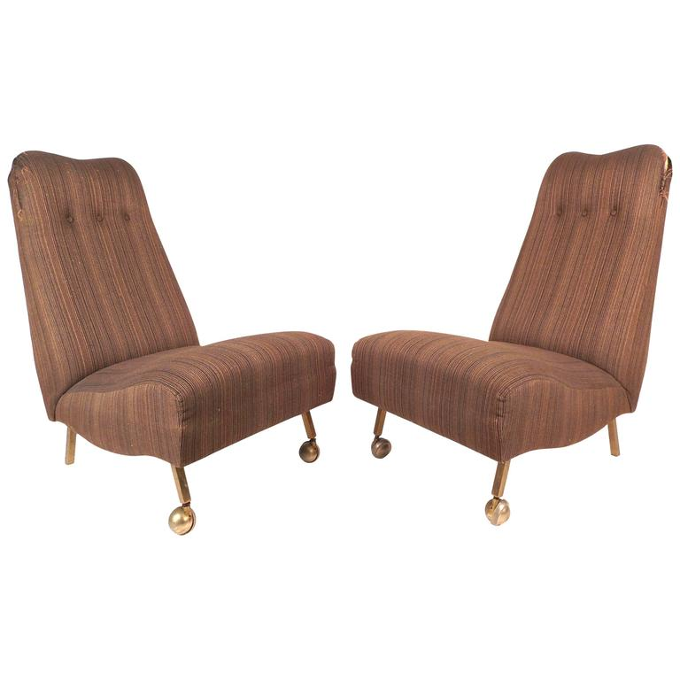 Etonnant Pair Of Mid Century Modern High Back Slipper Chairs