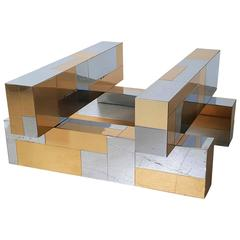 Paul Evans Cityscape Coffee Table in Brass and Chrome, 1970s