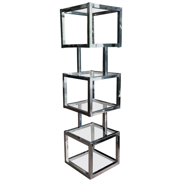 milo baughman style cube chrome etagere with glass shelves at 1stdibs. Black Bedroom Furniture Sets. Home Design Ideas