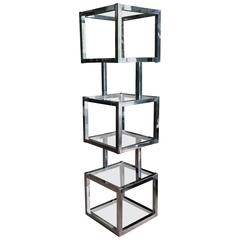 Milo Baughman Style Cube Chrome Etagere with Glass Shelves