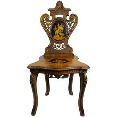 Brienz Walnut Chair with Inlay, circa 1900