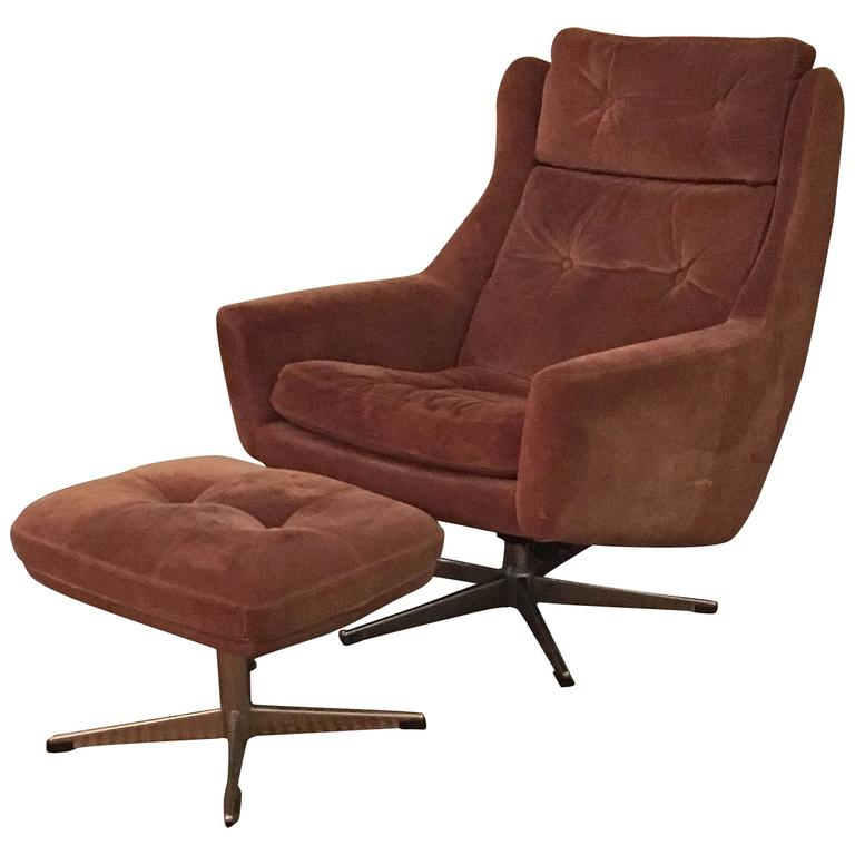 Scandinavian Modern Reclining Swivel Suede Lounge Chair And Ottoman