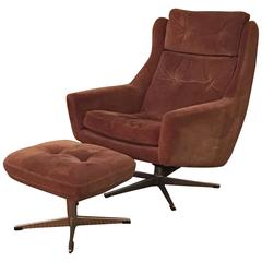 Scandinavian Modern Reclining Swivel Suede Lounge Chair & Ottoman by John Stuart
