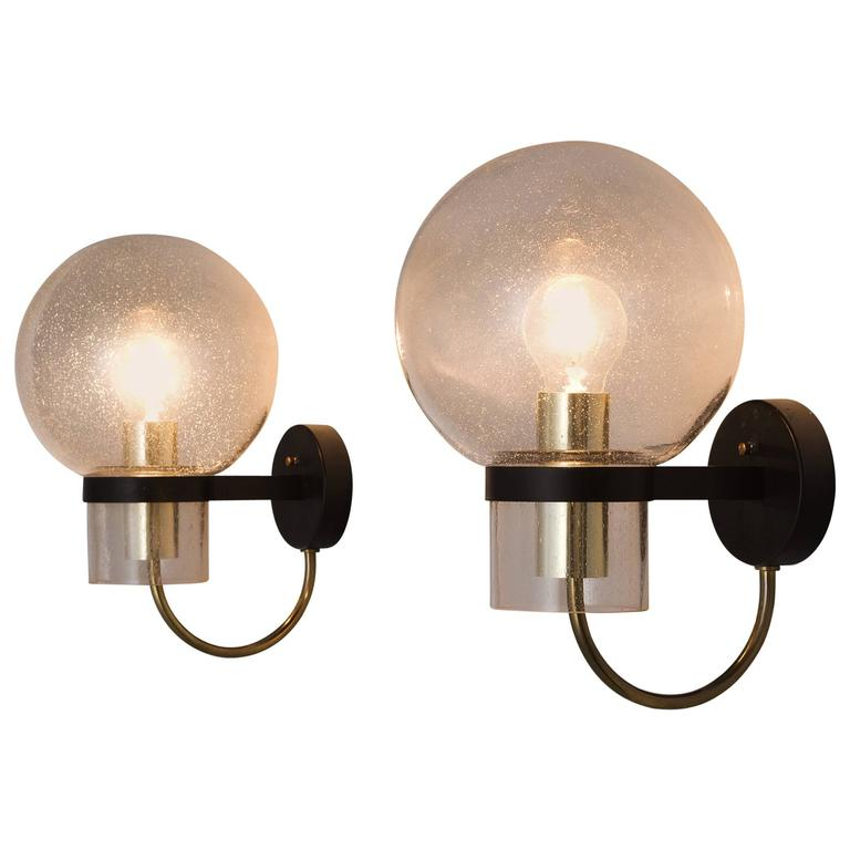 Set of 4 Wall Lights in Brass and Glass For Sale at 1stdibs
