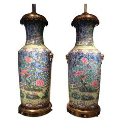 Pair of Fine Chinese Famille Rose Mounted Vases, China, circa 1850