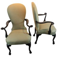 Pair of 19th Century Remarkable Carved Loop Armchairs