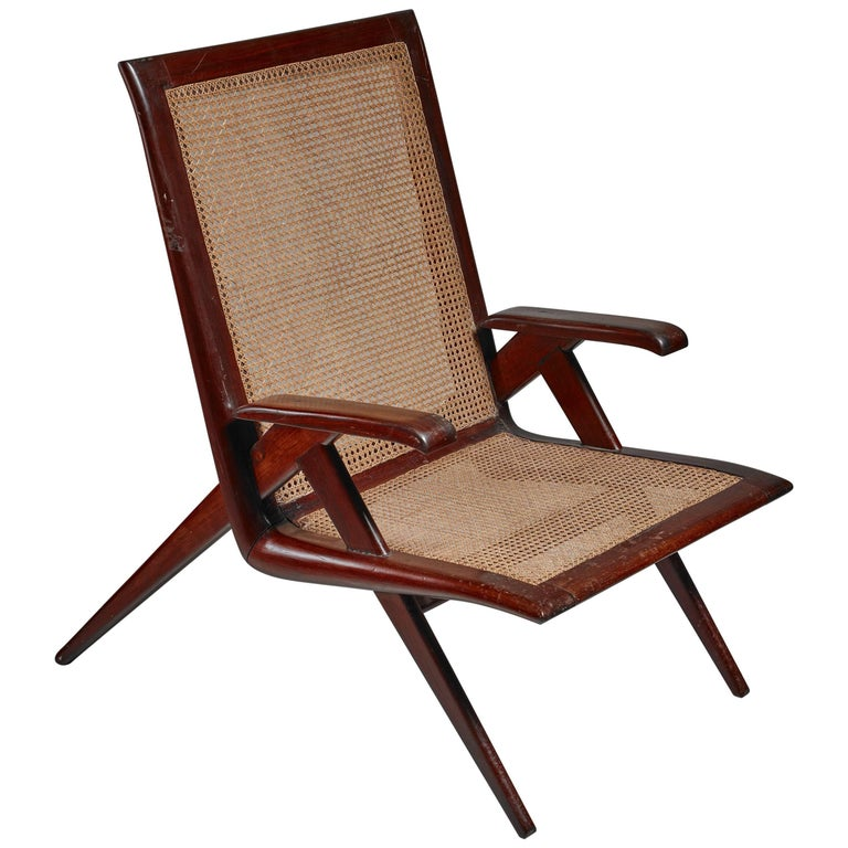 Brazilian Wooden Armchair with Woven Cane Seating, 1950s For Sale