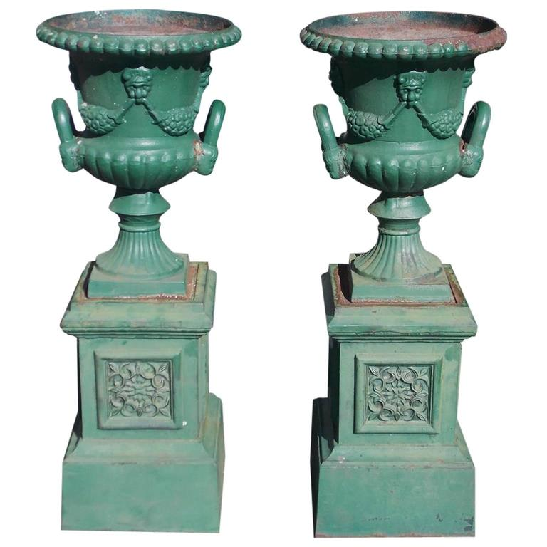 Pair Of American Cast Iron Decorative Floral Campaign Garden Urns Custom Decorative Urns For Sale