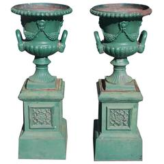 Pair of American Cast Iron Decorative Floral Campaign Garden Urns, Circa 1830