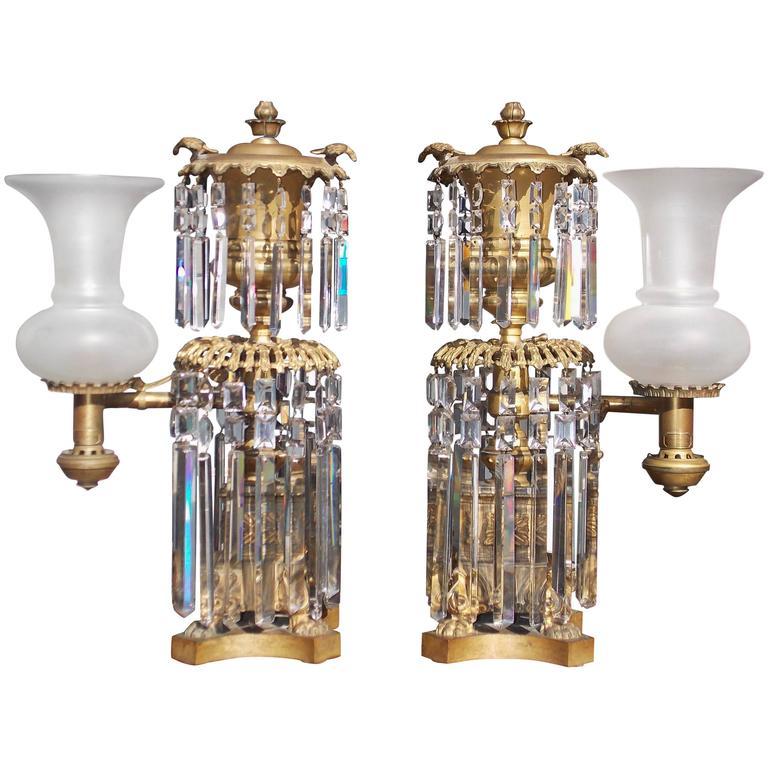 Pair of American Gilt Bronze & Crystal Argand Lamps, J. B. Wilbor, NY, C. 1820