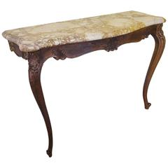 Antique French Oak Console Hall Table with Marble Top