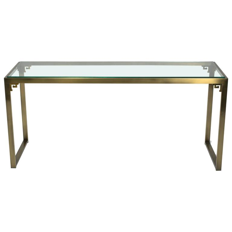 Greek Key Brass Console Table by Design Institute of America