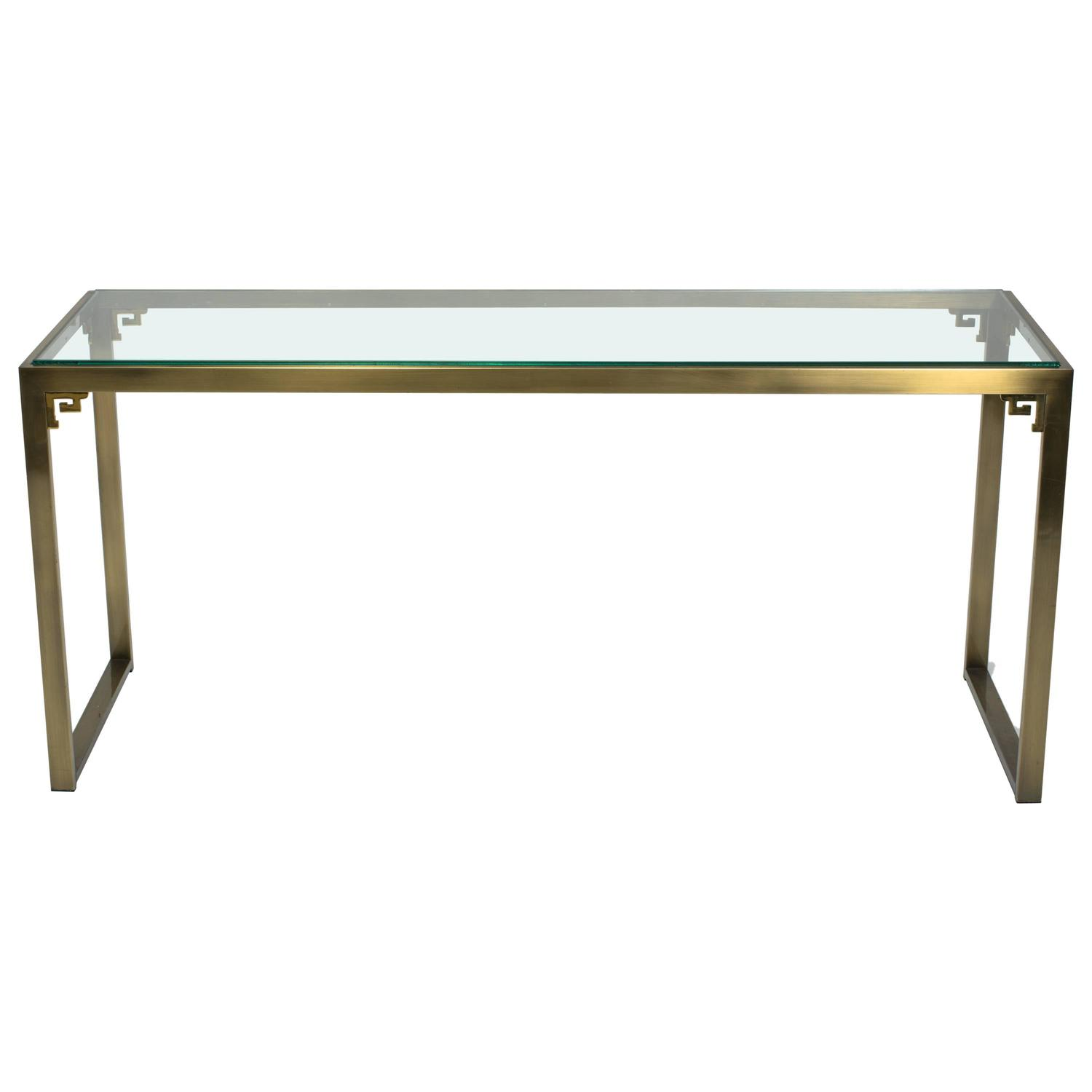 A unique horn design console table for sale at 1stdibs greek key brass console table by design institute of america geotapseo Choice Image