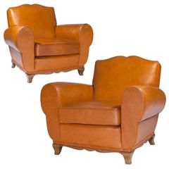 Pair of Leather Mustache French Club Chairs, 1950s