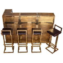 Belgo Chrome, Bar and Four Stools Set, circa 1970