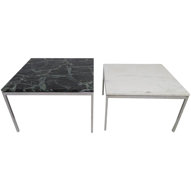 Lovely Pair Florence Knoll Chrome Marble Side End Tables Mid Century Modern