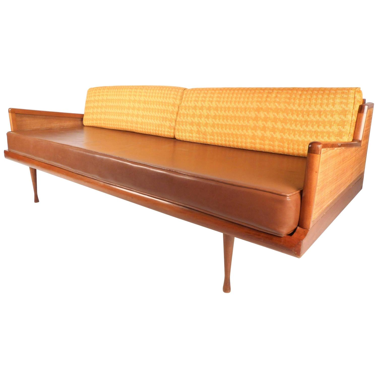 Used Cane Sofa For Sale In Bangalore: Mid-Century Modern Walnut And Cane Sofa For Sale At 1stdibs