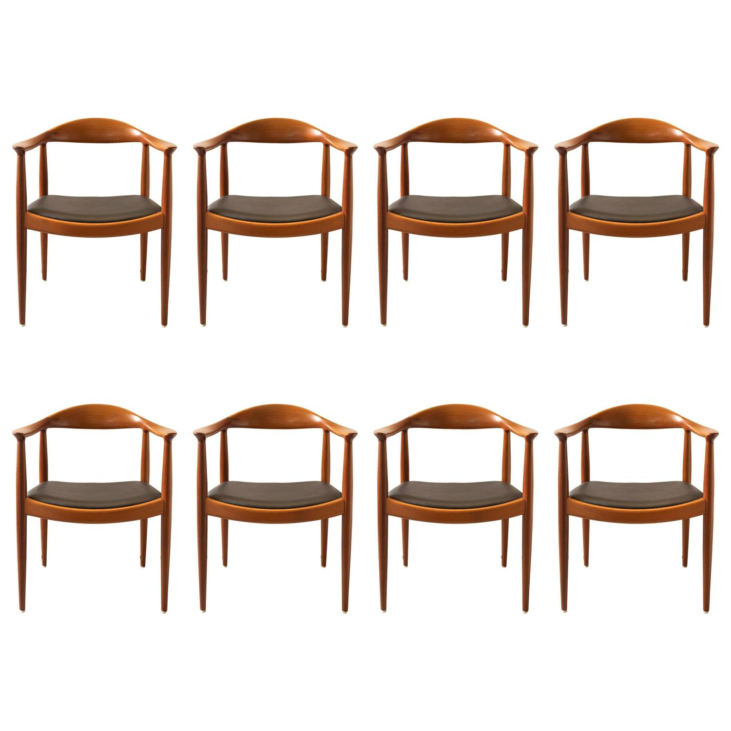 Hans wegner set of eight round back dining chairs in for Wegner dining chair