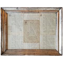 19th Century French Notaire Documents in a Louis Philippe Silver Gilt Frame