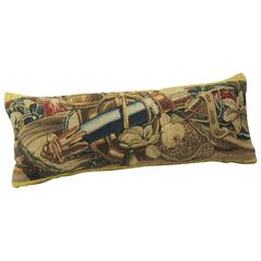 18th Century French Antique Verdure Tapestry Bolster Pillow