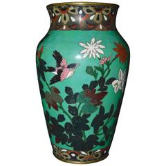 Antique Meiji Period Japanese Green Cloisonné Vase
